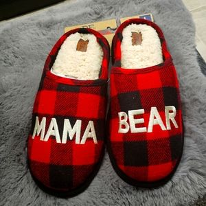 Mama Bear Plaid Womans Slippers size L 9-10